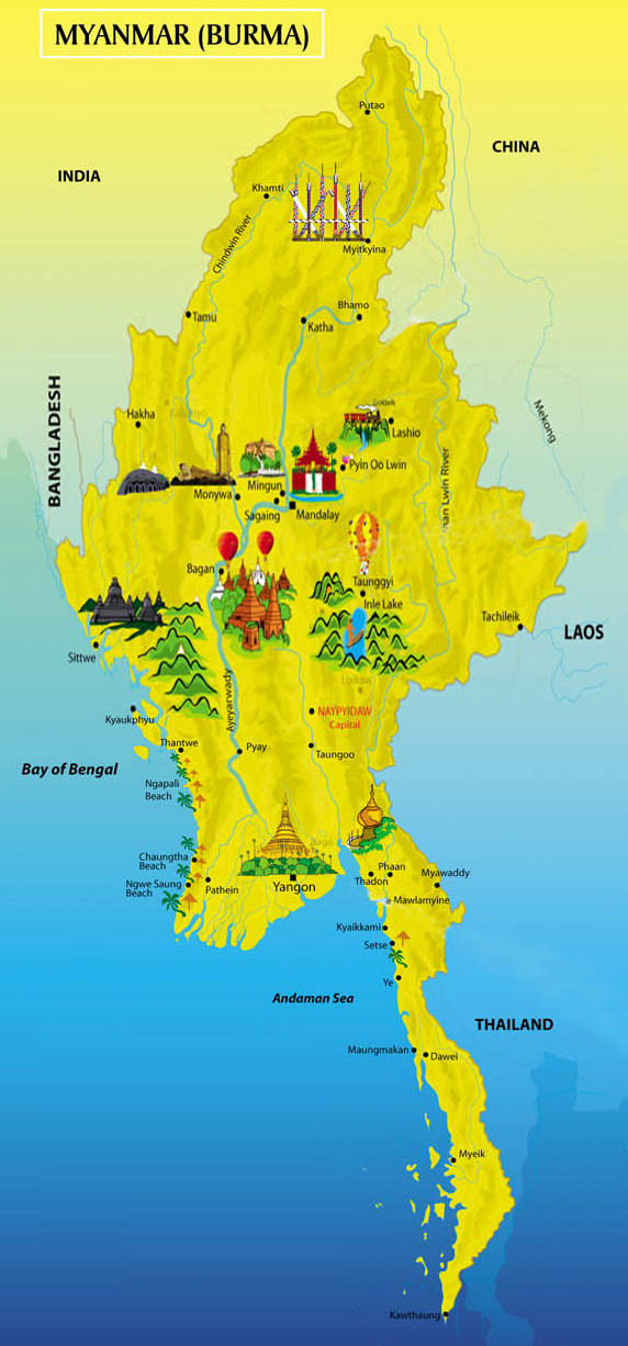 Myanmar and Map – Burma Tourist Map